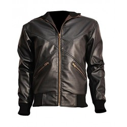 Cross Front Slim Fit Bomber Leather Jacket