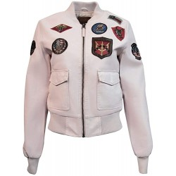 Top Gun Flight Patches Real Leather Pink Women's Bomber Jacket
